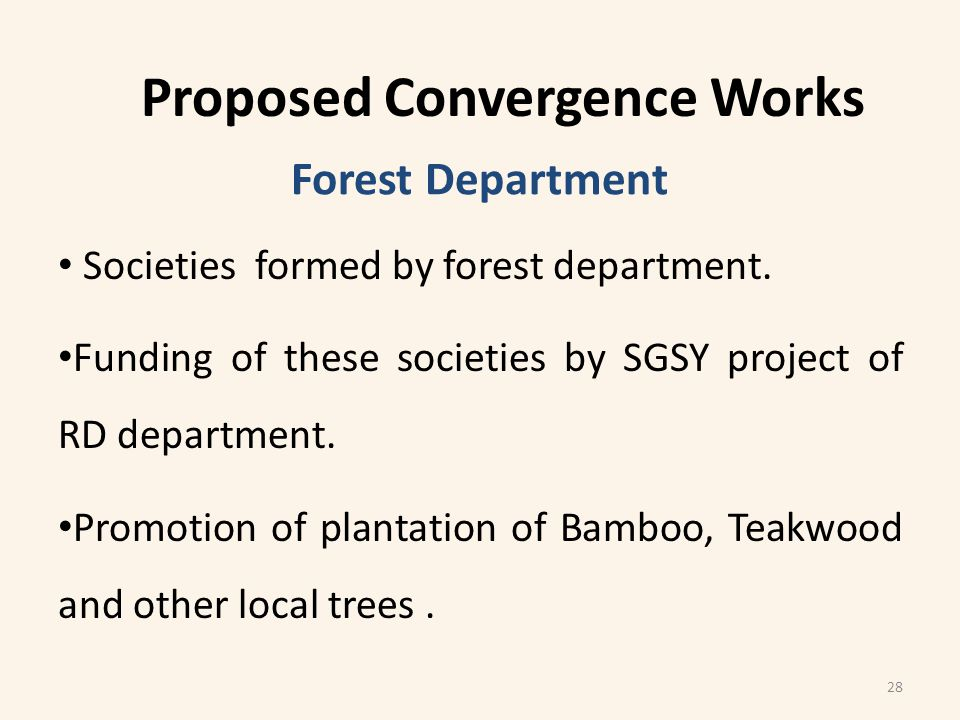 Societies formed by forest department. Funding of these societies by SGSY project of RD department.