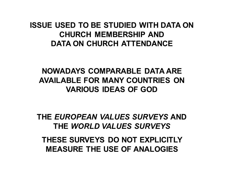 ISSUE USED TO BE STUDIED WITH DATA ON CHURCH MEMBERSHIP AND DATA ON CHURCH ATTENDANCE NOWADAYS COMPARABLE DATA ARE AVAILABLE FOR MANY COUNTRIES ON VARIOUS IDEAS OF GOD THE EUROPEAN VALUES SURVEYS AND THE WORLD VALUES SURVEYS THESE SURVEYS DO NOT EXPLICITLY MEASURE THE USE OF ANALOGIES