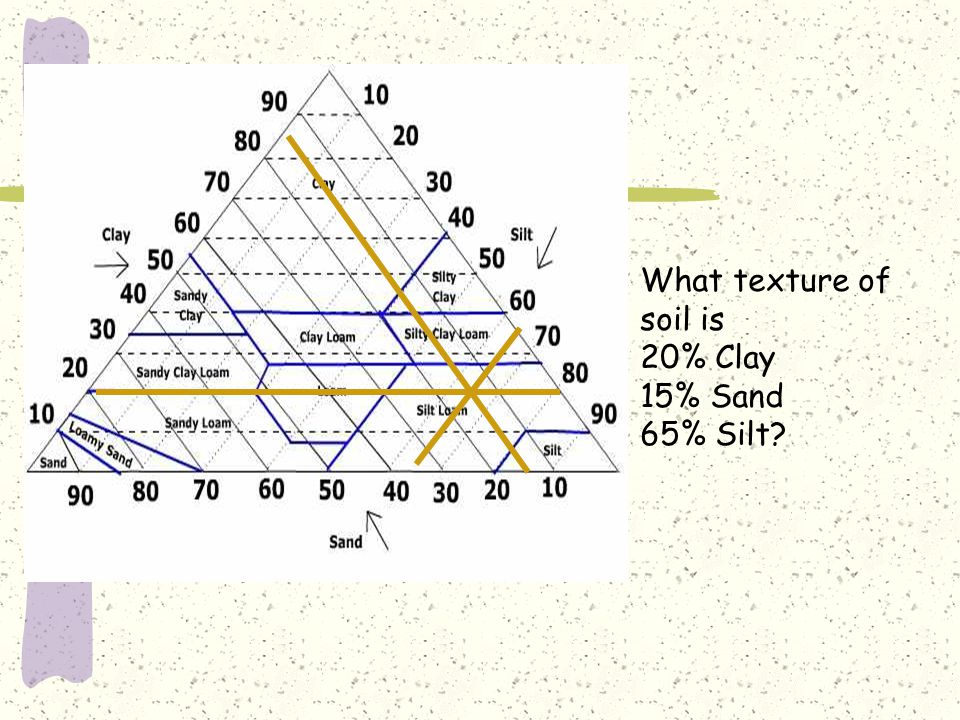 What texture of soil is 20% Clay 15% Sand 65% Silt
