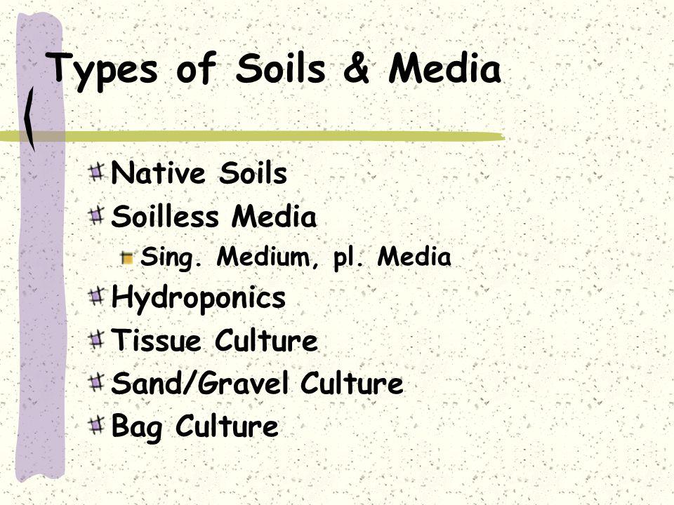 Types of Soils & Media Native Soils Soilless Media Sing. Medium, pl. Media Hydroponics Tissue Culture Sand/Gravel Culture Bag Culture