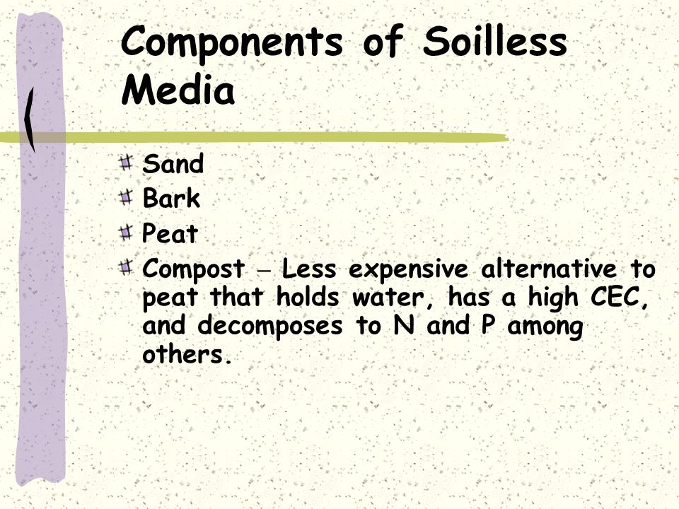 Components of Soilless Media Sand Bark Peat Compost – Less expensive alternative to peat that holds water, has a high CEC, and decomposes to N and P a