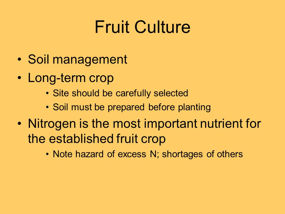 Fruit Culture Soil management Long-term crop Site should be carefully selected Soil must be prepared before planting Nitrogen is the most important nutrient for the established fruit crop Note hazard of excess N; shortages of others
