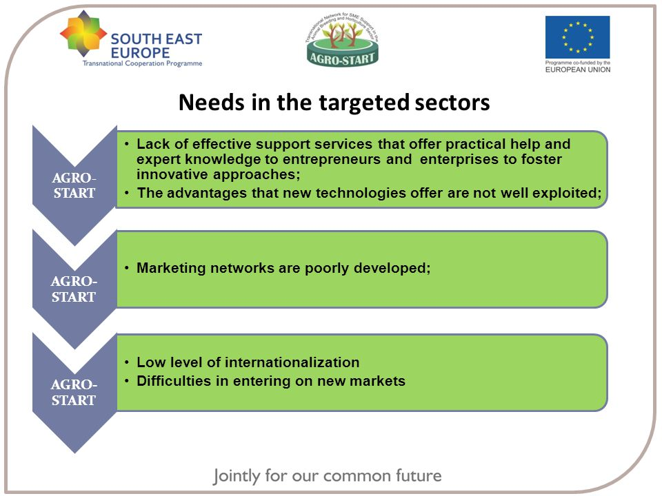 Needs in the targeted sectors AGRO- START Lack of effective support services that offer practical help and expert knowledge to entrepreneurs and enterprises to foster innovative approaches; The advantages that new technologies offer are not well exploited; AGRO- START Marketing networks are poorly developed; AGRO- START Low level of internationalization Difficulties in entering on new markets