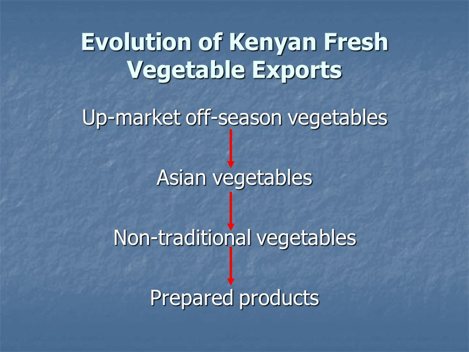 Evolution of Kenyan Fresh Vegetable Exports Up-market off-season vegetables Asian vegetables Non-traditional vegetables Prepared products