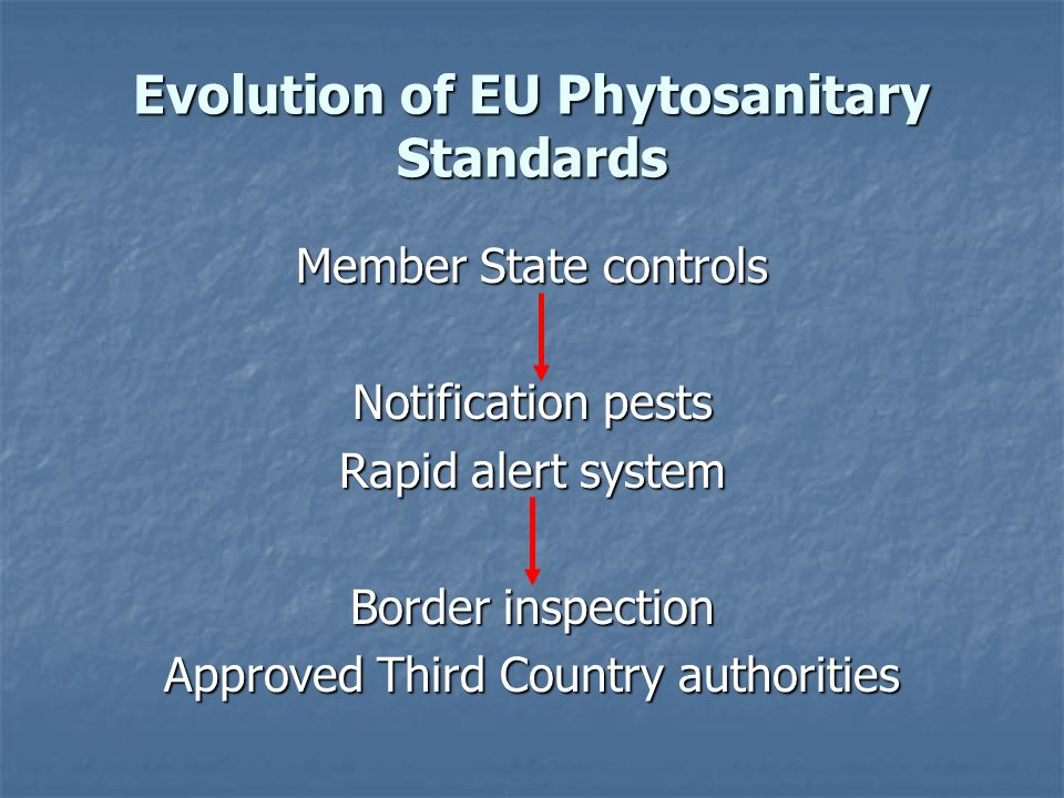 Evolution of EU Phytosanitary Standards Member State controls Notification pests Rapid alert system Border inspection Approved Third Country authorities