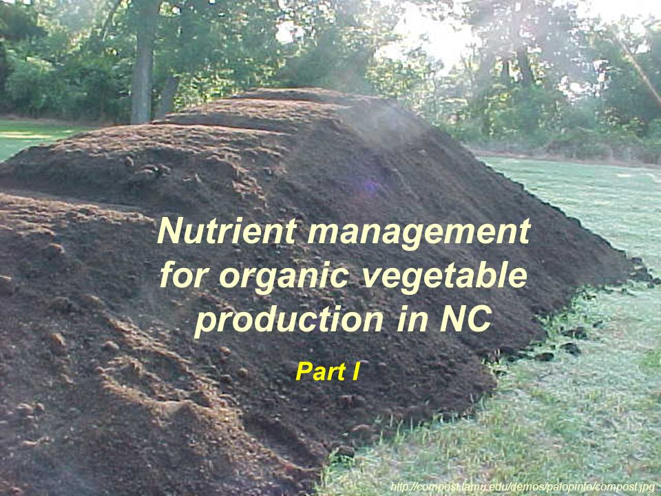 Nutrient management for organic vegetable production in NC http://compost.tamu.edu/demos/palopinto/compost.jpg Part I
