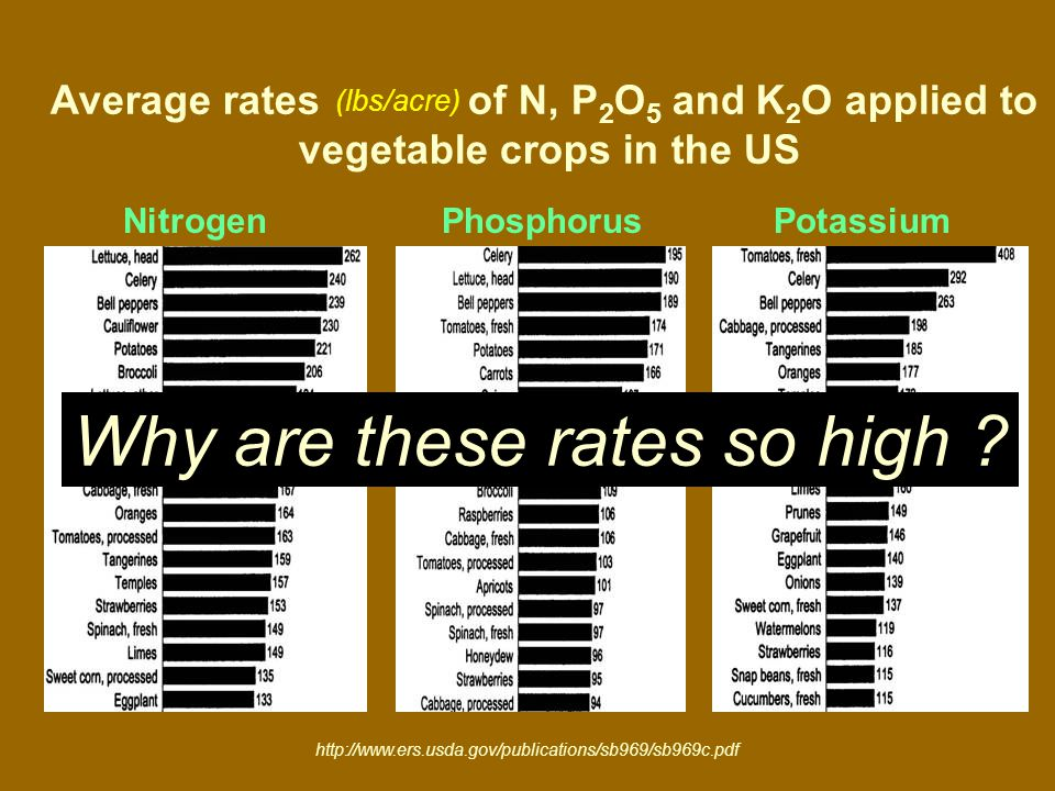 Nitrogen Phosphorus Potassium Average rates of N, P 2 O 5 and K 2 O applied to vegetable crops in the US Why are these rates so high .