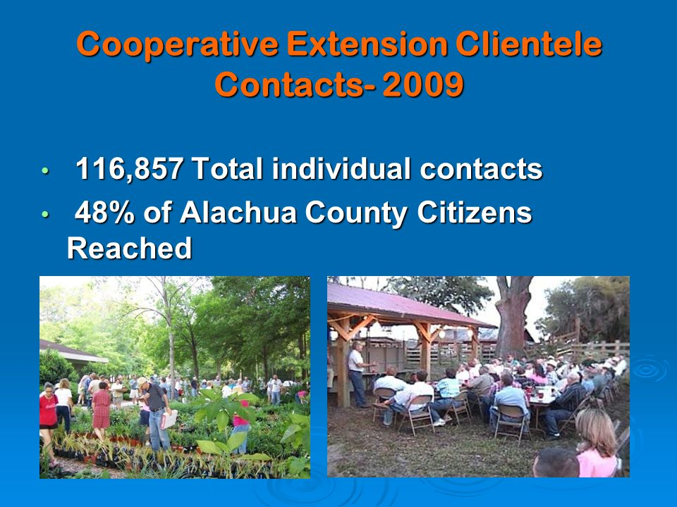 Cooperative Extension Clientele Contacts- 2009 116,857 Total individual contacts 116,857 Total individual contacts 48% of Alachua County Citizens Reached 48% of Alachua County Citizens Reached