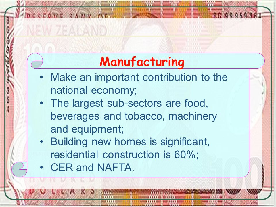 Manufacturing Make an important contribution to the national economy; The largest sub-sectors are food, beverages and tobacco, machinery and equipment; Building new homes is significant, residential construction is 60%; CER and NAFTA.