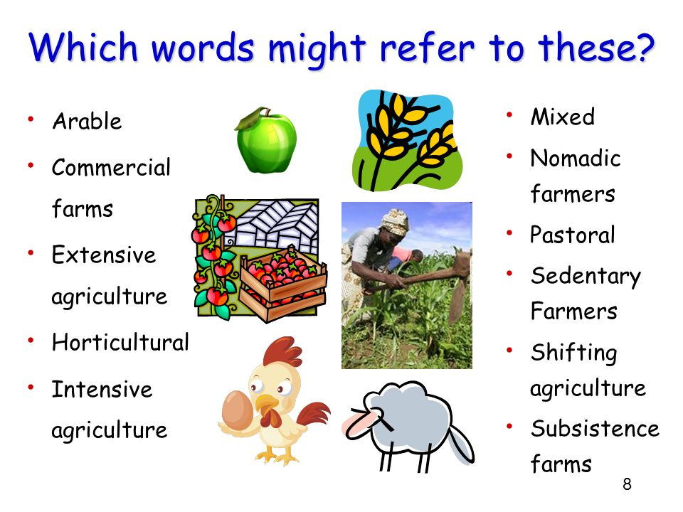 8 Which words might refer to these? Arable Commercial farms Extensive agriculture Horticultural Intensive agriculture Mixed Nomadic farmers Pastoral S