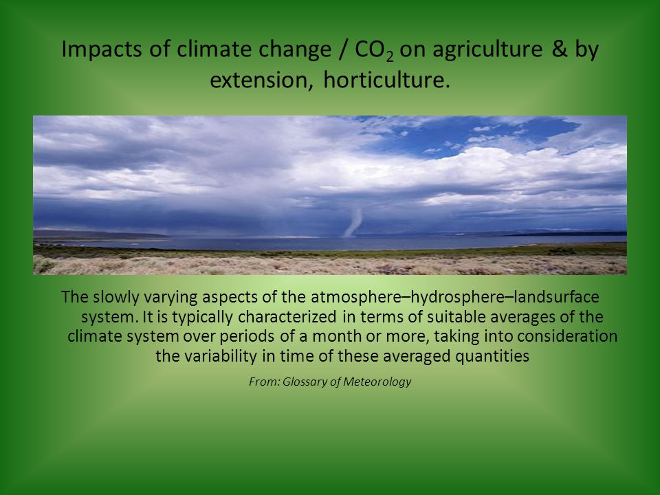 Impacts of climate change / CO 2 on agriculture & by extension, horticulture.