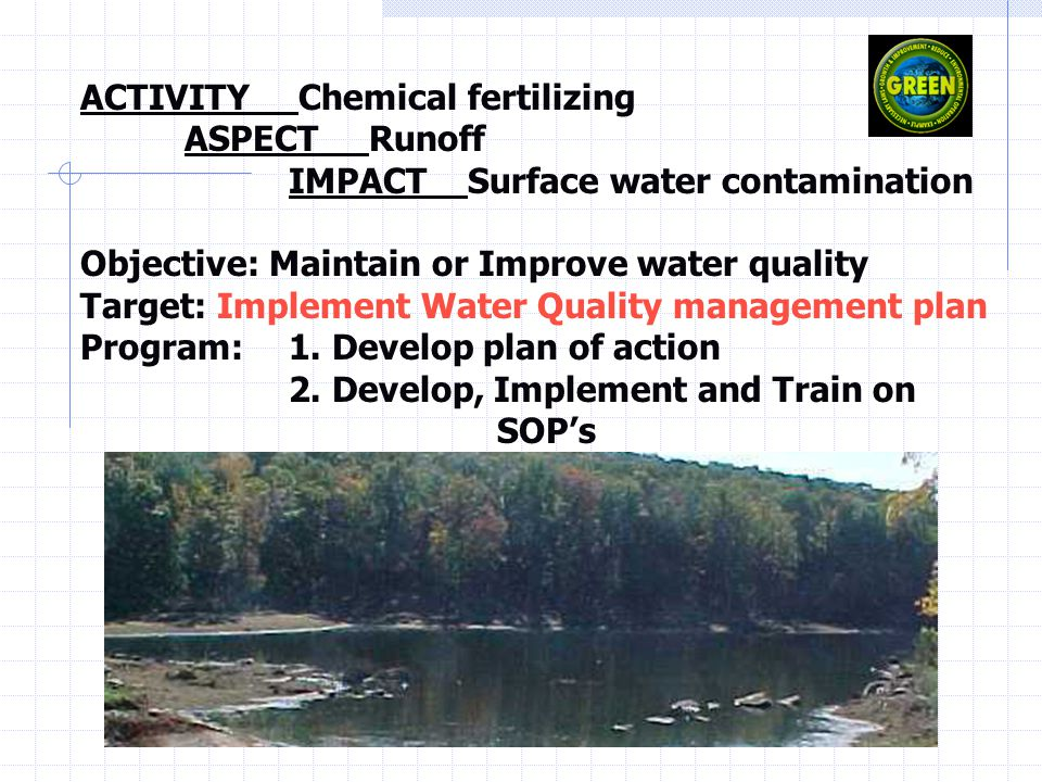 ACTIVITY Chemical fertilizing ASPECT Runoff IMPACT Surface water contamination Objective: Maintain or Improve water quality Target: Implement Water Quality management plan Program: 1.