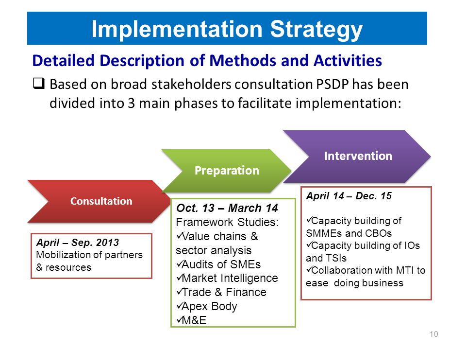 Implementation Strategy 10 Detailed Description of Methods and Activities  Based on broad stakeholders consultation PSDP has been divided into 3 main phases to facilitate implementation: Consultation Preparation Intervention April – Sep.