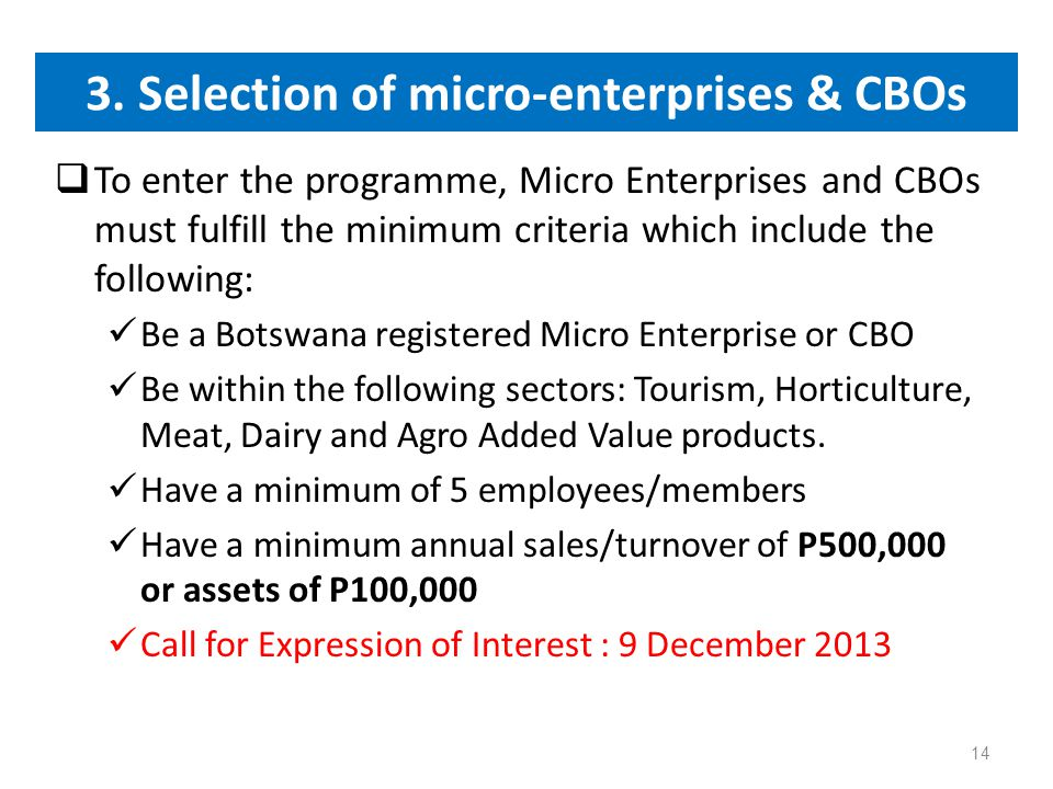 3. Selection of micro-enterprises & CBOs  To enter the programme, Micro Enterprises and CBOs must fulfill the minimum criteria which include the foll
