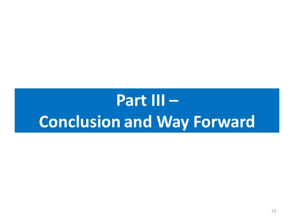 Part III – Conclusion and Way Forward 18