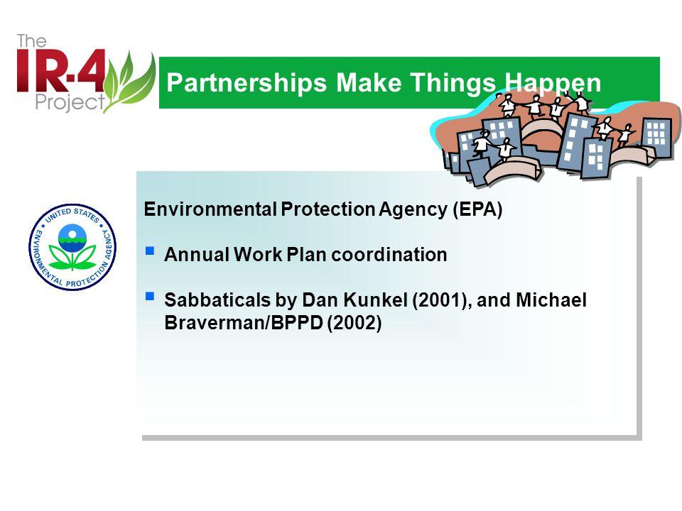 Environmental Protection Agency (EPA)  Annual Work Plan coordination  Sabbaticals by Dan Kunkel (2001), and Michael Braverman/BPPD (2002) Environmental Protection Agency (EPA)  Annual Work Plan coordination  Sabbaticals by Dan Kunkel (2001), and Michael Braverman/BPPD (2002) Partnerships Make Things Happen