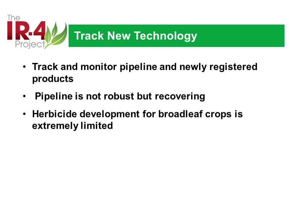Track New Technology Track and monitor pipeline and newly registered products Pipeline is not robust but recovering Herbicide development for broadleaf crops is extremely limited