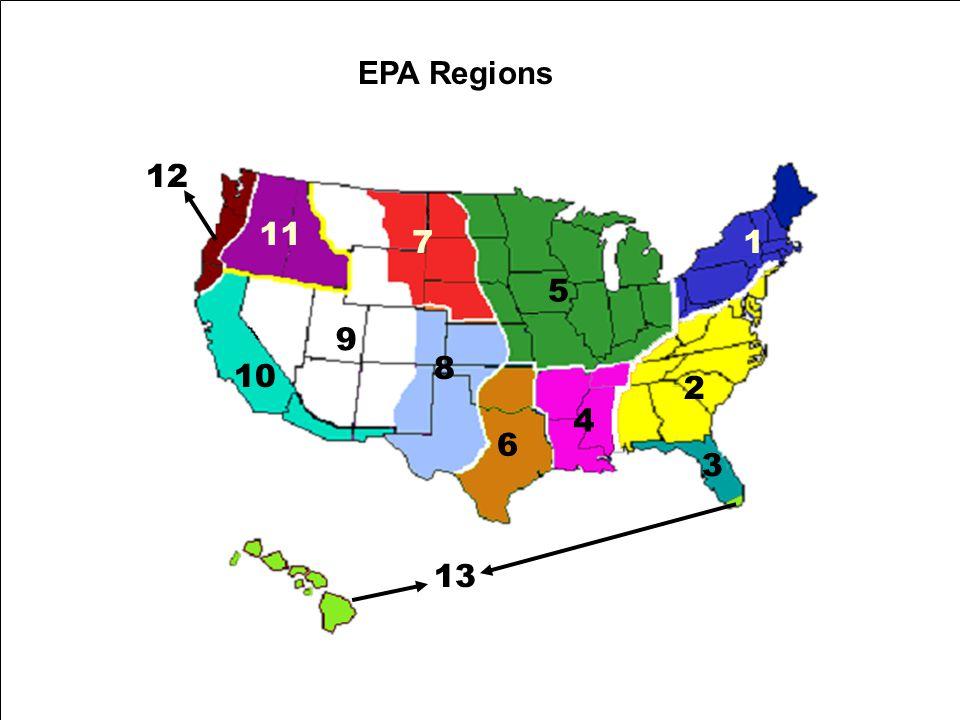 EPA Regions 1 2 9 3 4 5 6 8 7 10 11 12 13