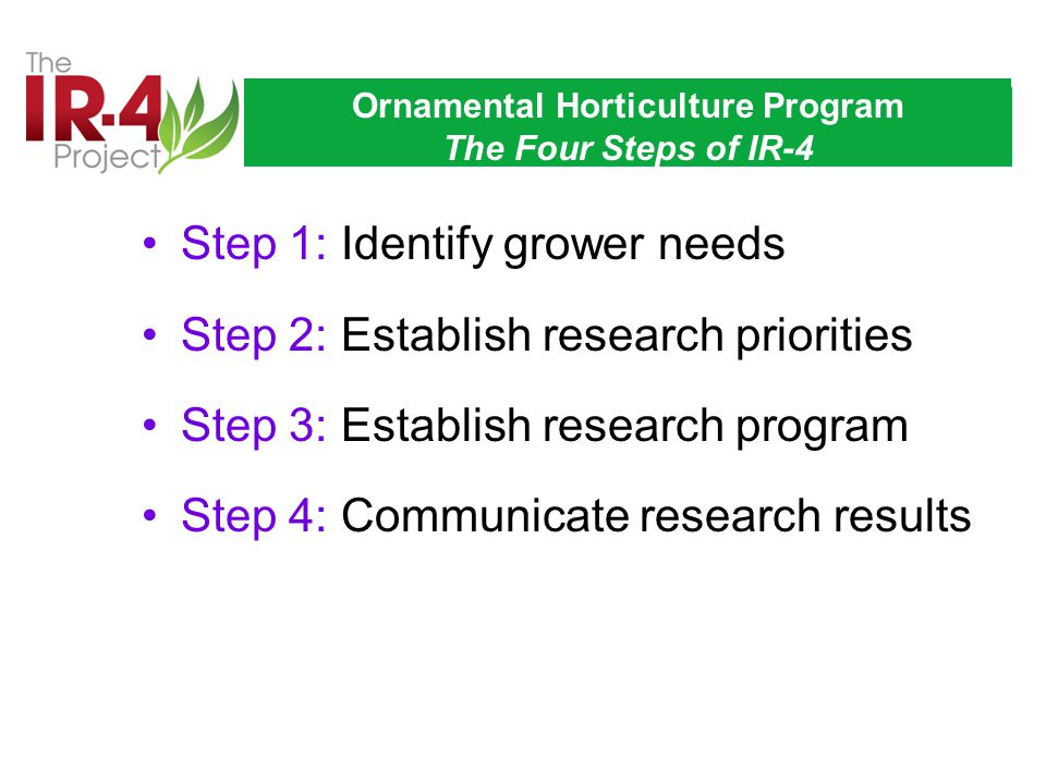 Ornamental Horticulture Program The Four Steps of IR-4 Step 1: Identify grower needs Step 2: Establish research priorities Step 3: Establish research program Step 4: Communicate research results