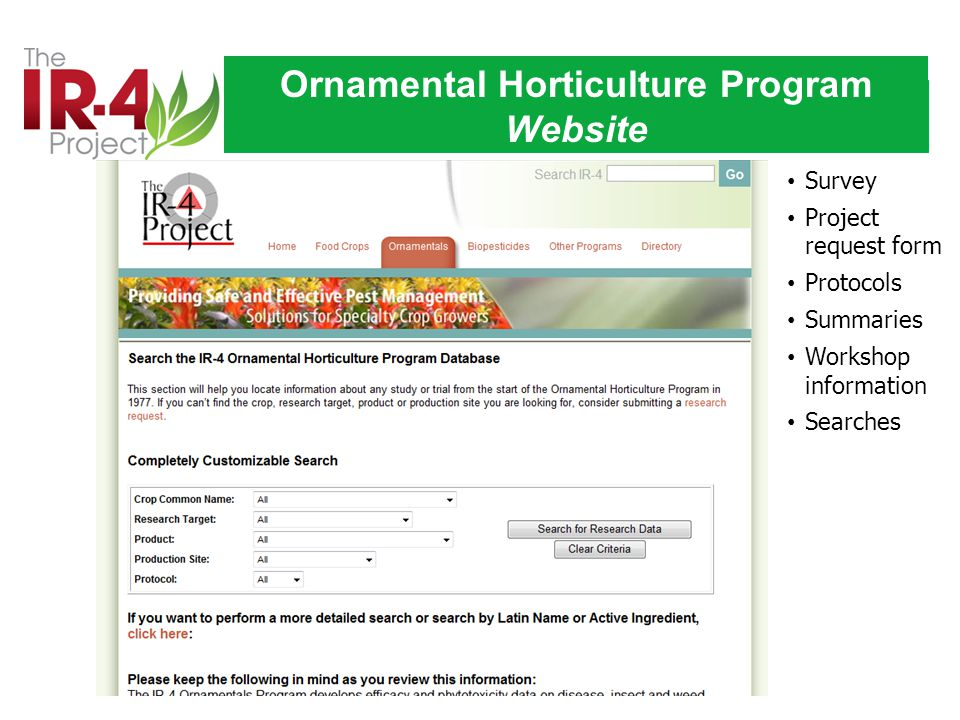Ornamental Horticulture Program Website Survey Project request form Protocols Summaries Workshop information Searches