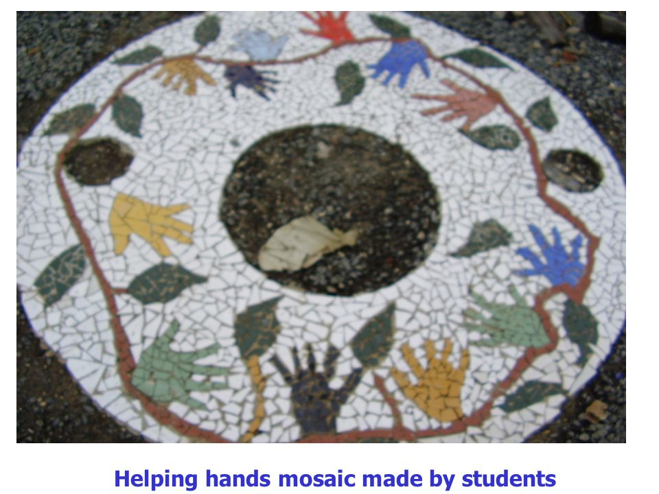 Helping hands mosaic made by students