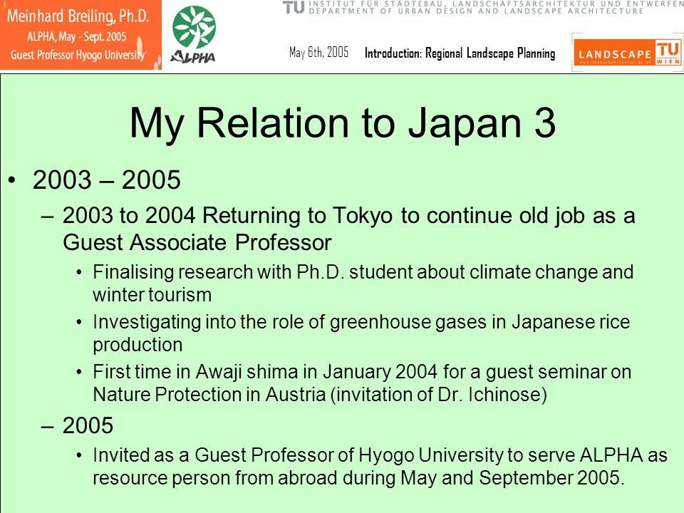 May 6th, 2005Introduction: Regional Landscape Planning My Relation to Japan 3 2003 – 2005 –2003 to 2004 Returning to Tokyo to continue old job as a Gu