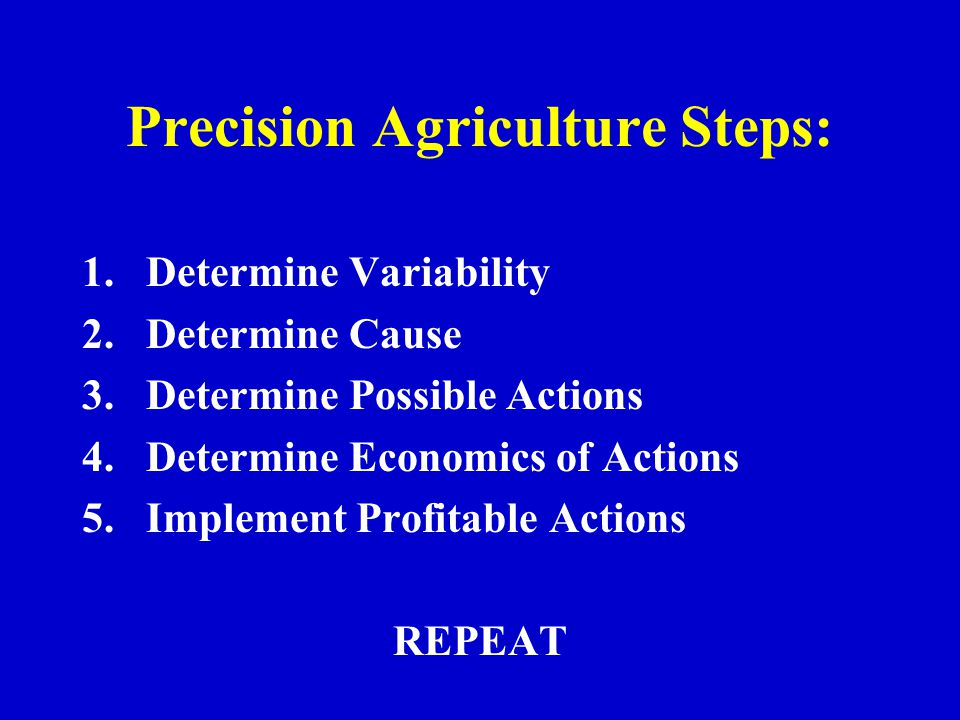 Precision Agriculture Steps: 1.Determine Variability 2.Determine Cause 3.Determine Possible Actions 4.Determine Economics of Actions 5.Implement Profitable Actions REPEAT