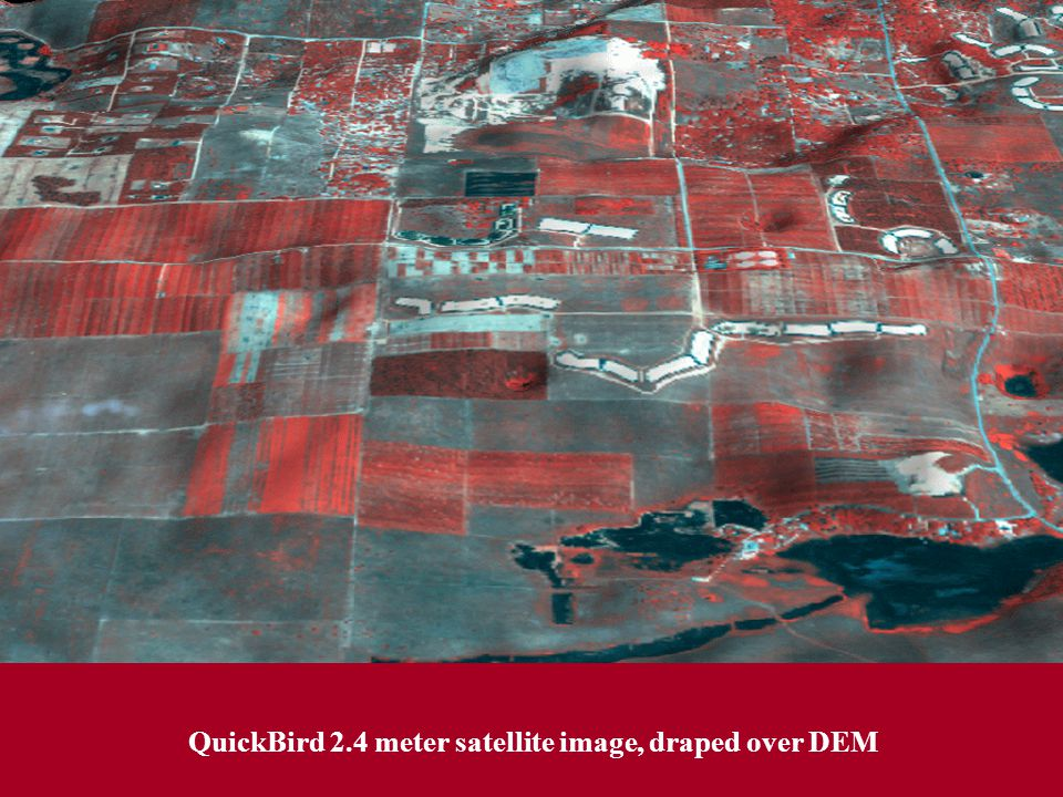 QuickBird 2.4 meter satellite image, draped over DEM