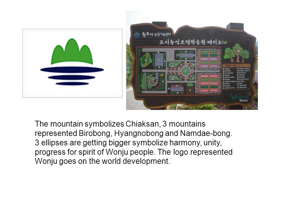 The mountain symbolizes Chiaksan, 3 mountains represented Birobong, Hyangnobong and Namdae-bong.