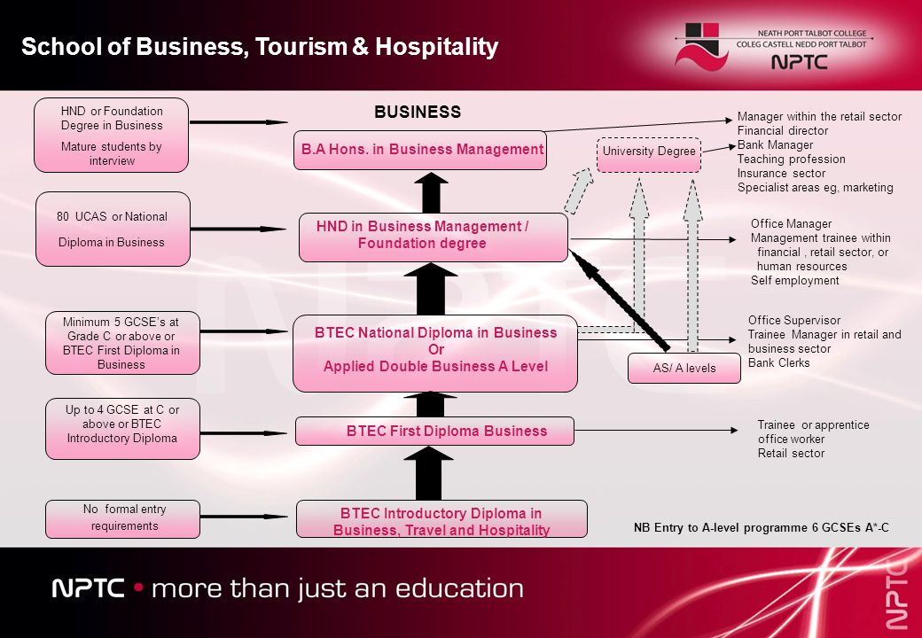BTEC Introductory Diploma in Business, Travel and Hospitality BTEC First Diploma Business BTEC National Diploma in Business Or Applied Double Business A Level HND in Business Management / Foundation degree B.A Hons.