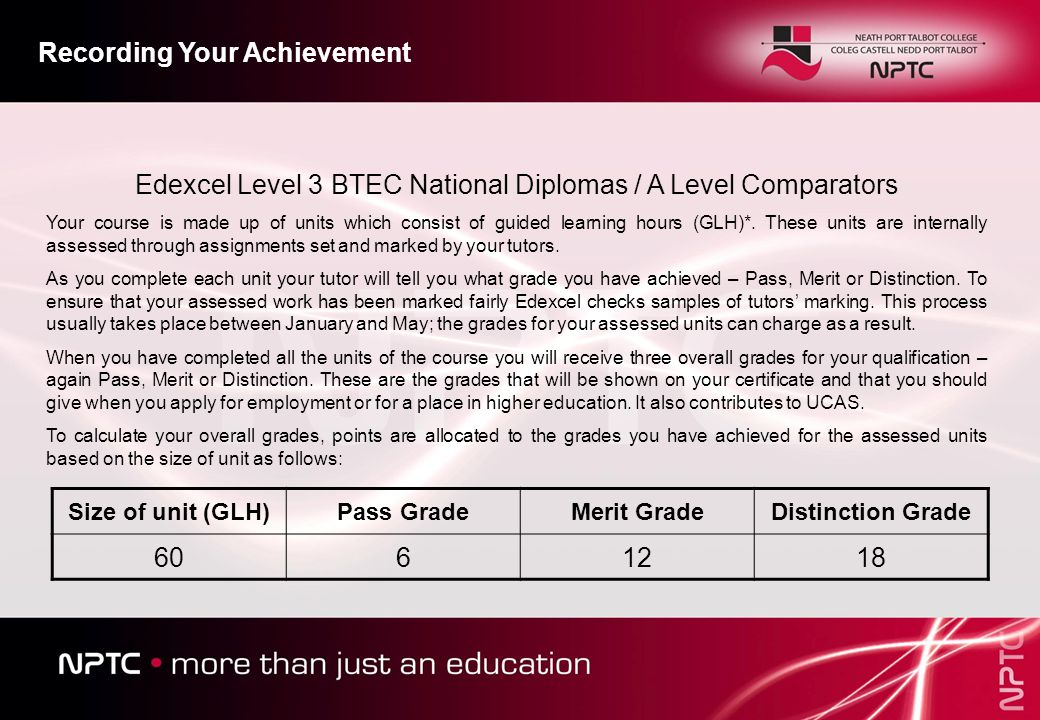 Edexcel Level 3 BTEC National Diplomas / A Level Comparators Your course is made up of units which consist of guided learning hours (GLH)*.