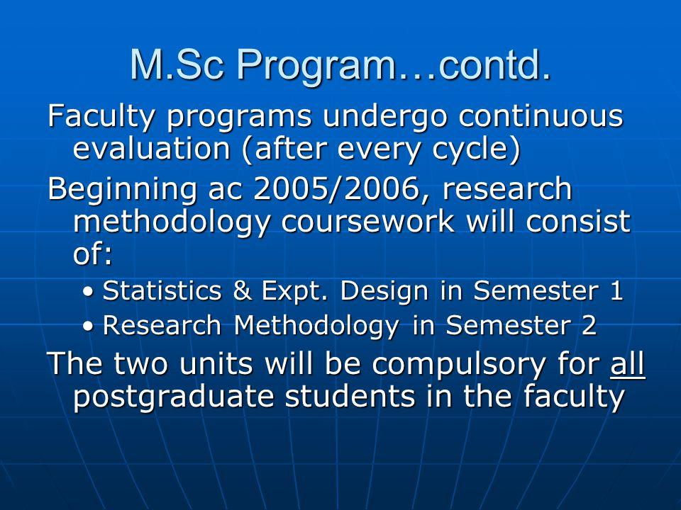 M.Sc Program…contd.