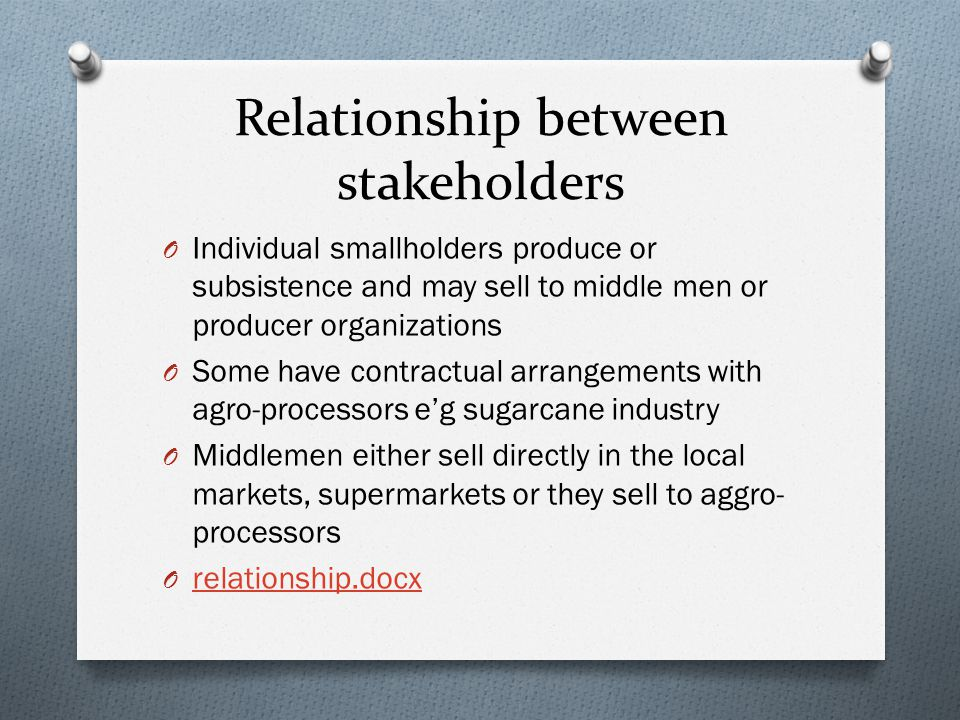 Relationship between stakeholders O Individual smallholders produce or subsistence and may sell to middle men or producer organizations O Some have contractual arrangements with agro-processors e'g sugarcane industry O Middlemen either sell directly in the local markets, supermarkets or they sell to aggro- processors O relationship.docx relationship.docx