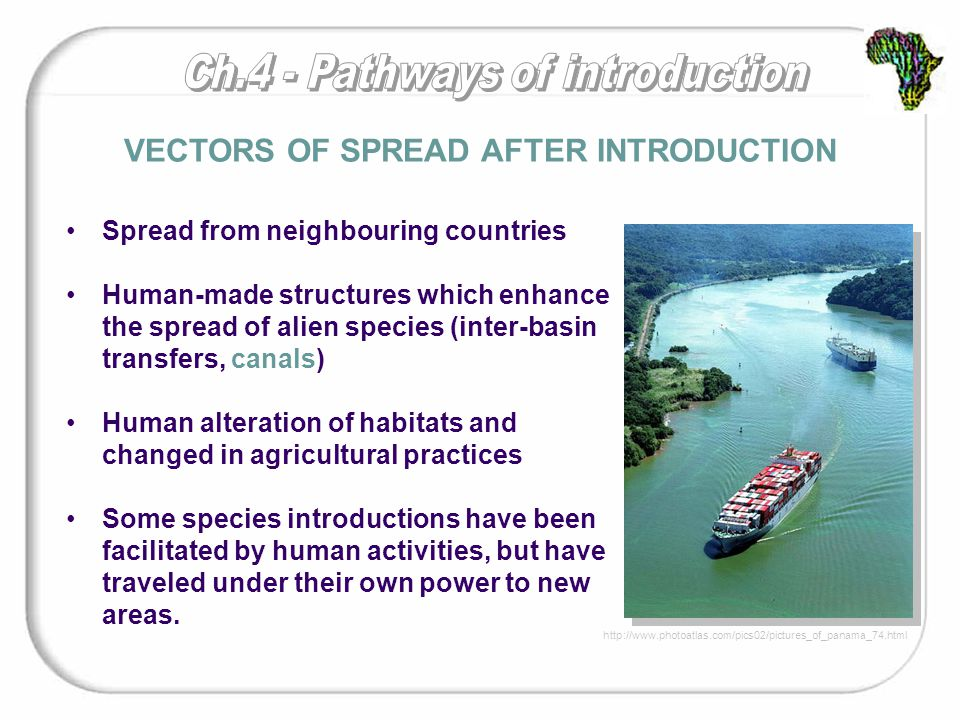Spread from neighbouring countries Human-made structures which enhance the spread of alien species (inter-basin transfers, canals) Human alteration of habitats and changed in agricultural practices Some species introductions have been facilitated by human activities, but have traveled under their own power to new areas.