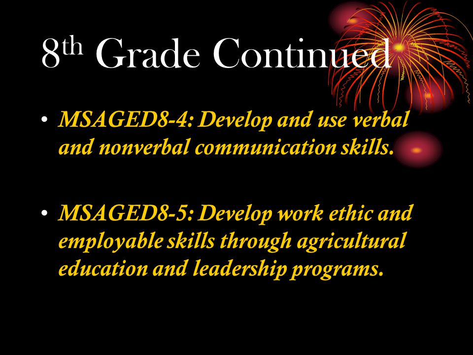 8 th Grade Continued MSAGED8-4: Develop and use verbal and nonverbal communication skills.