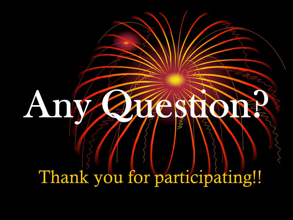Any Question Thank you for participating!!