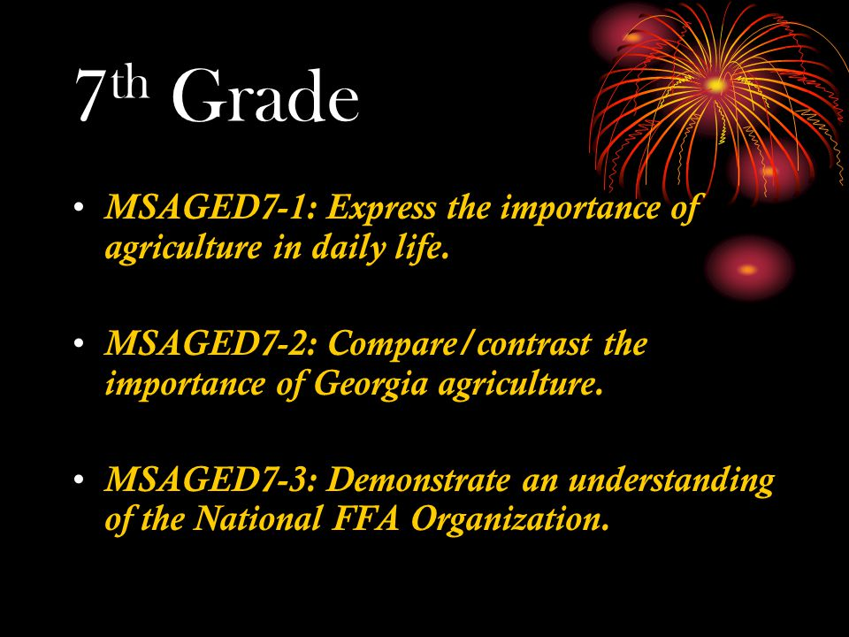 7 th Grade MSAGED7-1: Express the importance of agriculture in daily life.