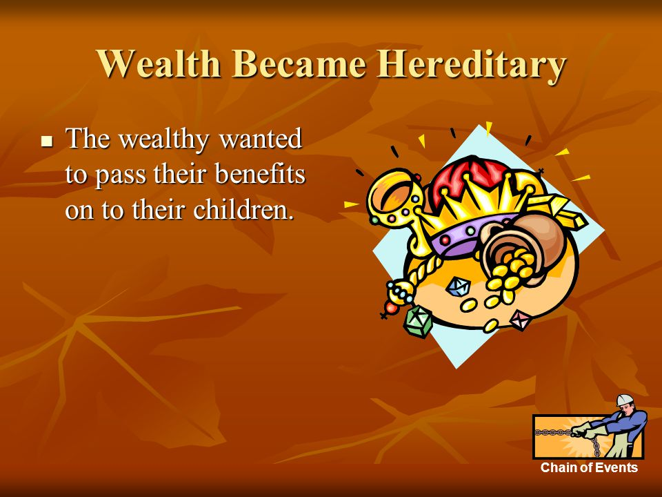 Wealth Became Hereditary The wealthy wanted to pass their benefits on to their children.