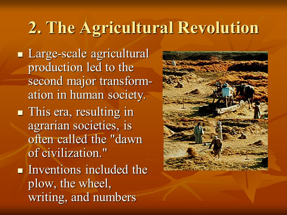 2. The Agricultural Revolution Large-scale agricultural production led to the second major transform- ation in human society. Large-scale agricultural