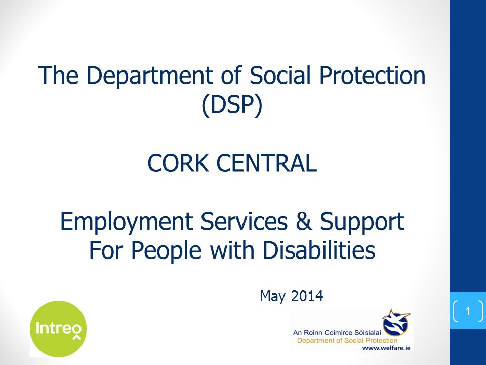May 2014 The Department of Social Protection (DSP) CORK CENTRAL Employment Services & Support For People with Disabilities 1