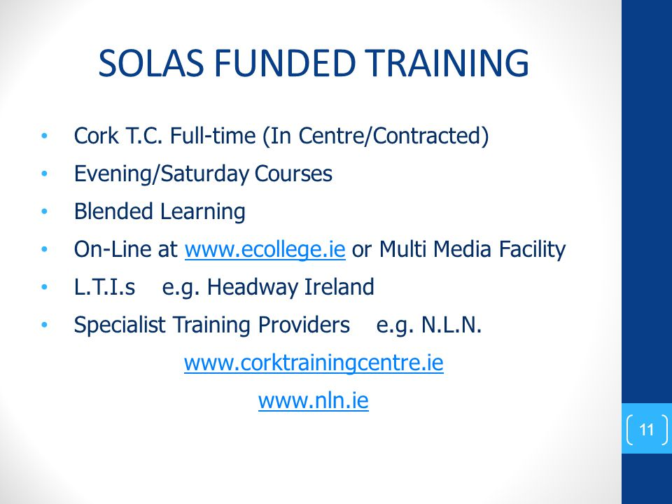 SOLAS FUNDED TRAINING Cork T.C.