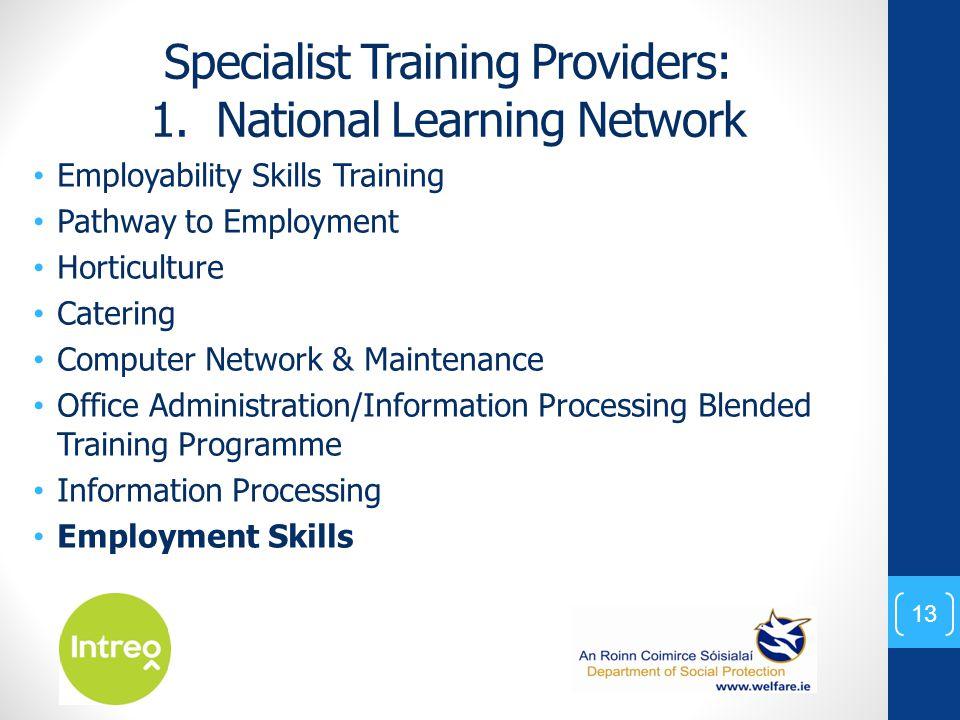Specialist Training Providers: 1.