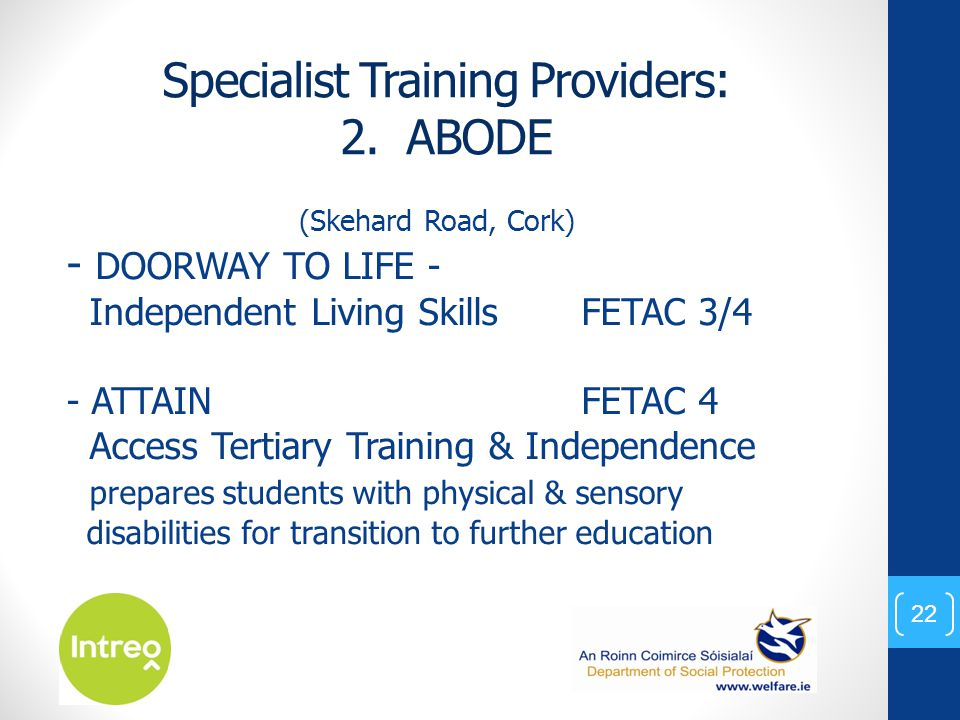 Specialist Training Providers: 2.