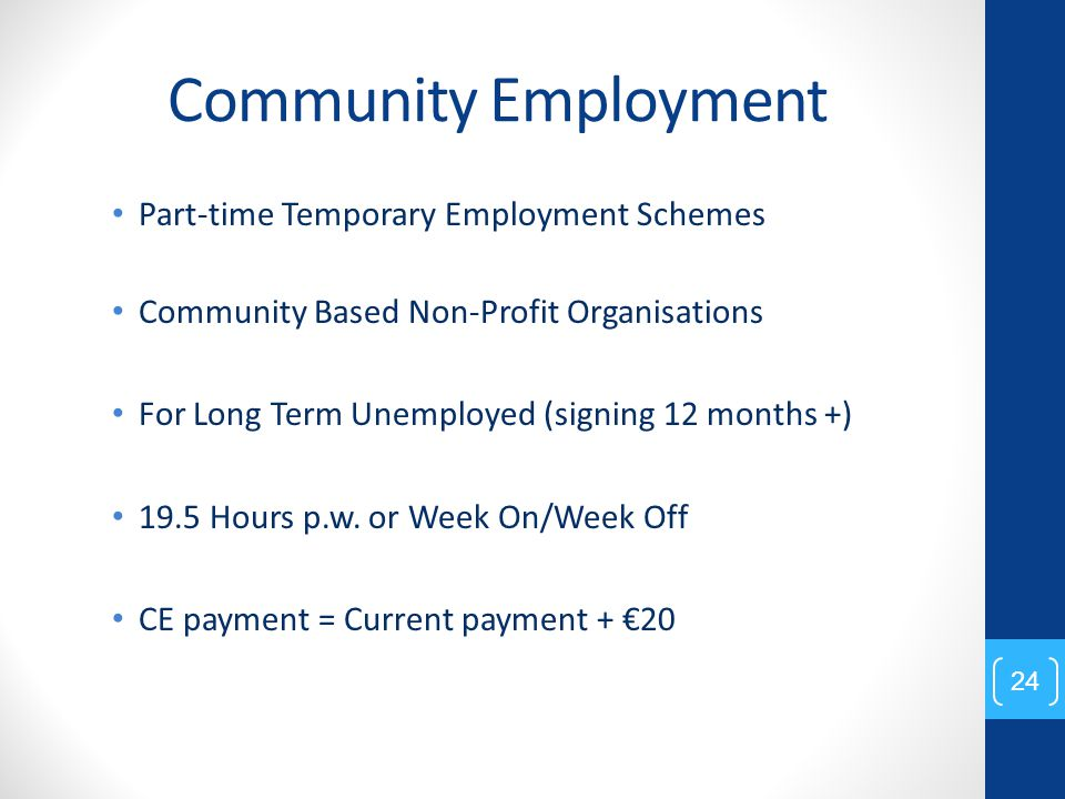 Community Employment Part-time Temporary Employment Schemes Community Based Non-Profit Organisations For Long Term Unemployed (signing 12 months +) 19.5 Hours p.w.