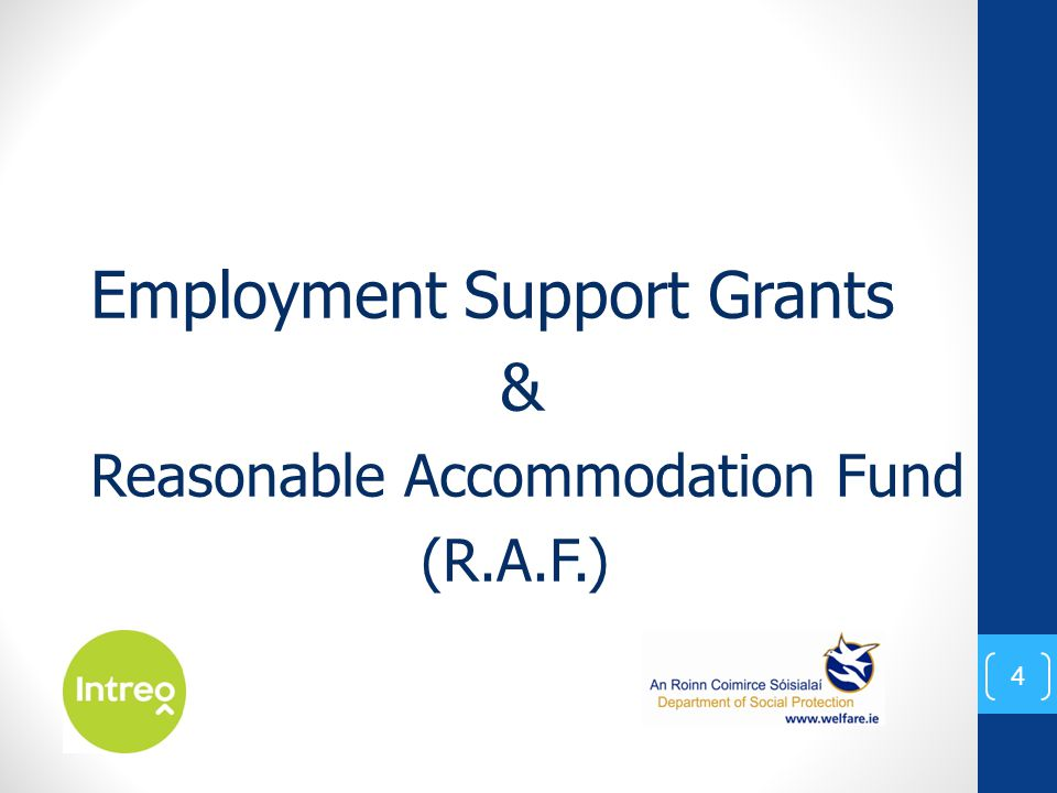 Employment Support Grants & Reasonable Accommodation Fund (R.A.F.) 4