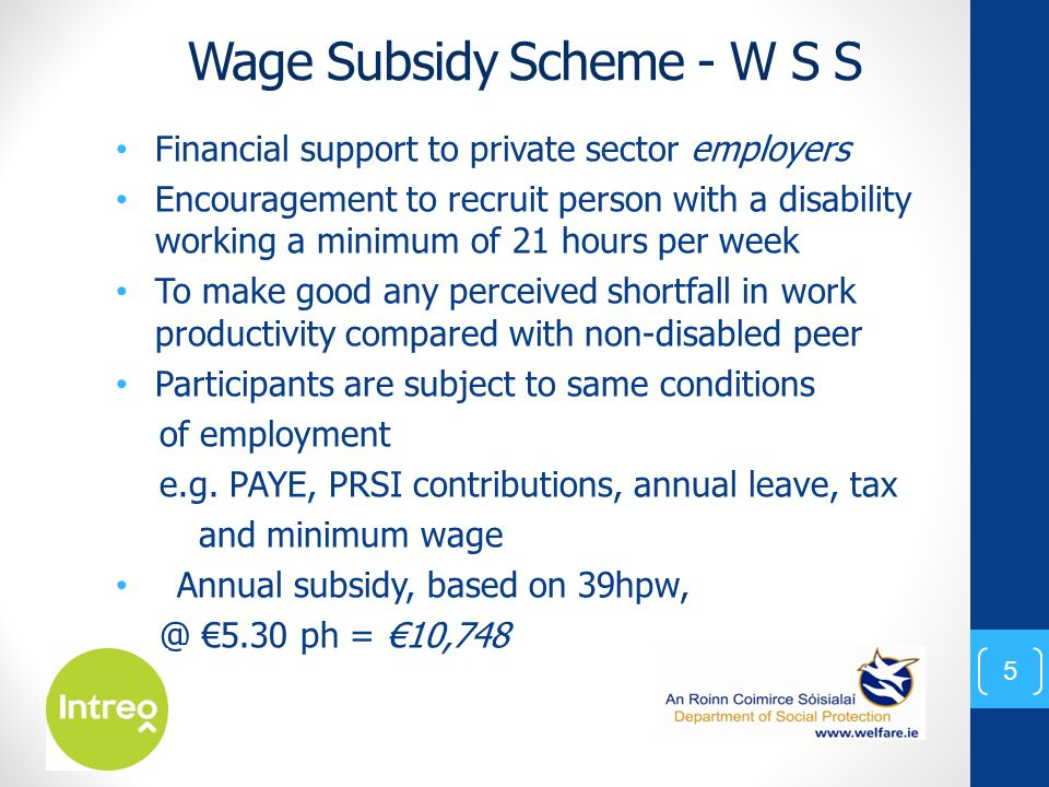 Wage Subsidy Scheme - W S S Financial support to private sector employers Encouragement to recruit person with a disability working a minimum of 21 hours per week To make good any perceived shortfall in work productivity compared with non-disabled peer Participants are subject to same conditions of employment e.g.
