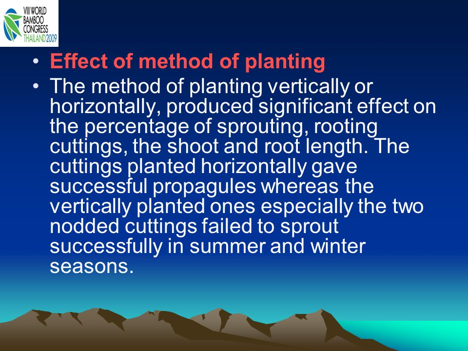 Effect of method of planting The method of planting vertically or horizontally, produced significant effect on the percentage of sprouting, rooting cuttings, the shoot and root length.