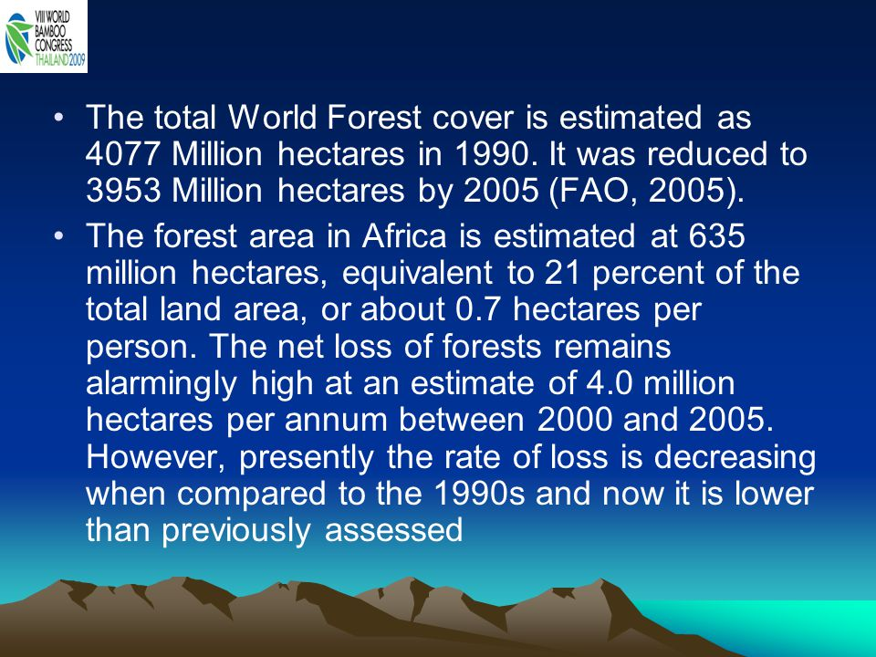 The total World Forest cover is estimated as 4077 Million hectares in 1990.