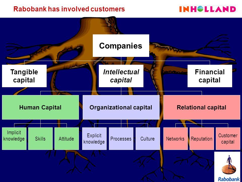 13/27 Explicit knowledge ProcessesCultureReputationNetworks Implicit knowledgeSkillsAttitude Customer capital Rabobank has involved customers Companie