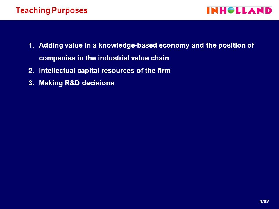 4/27 Teaching Purposes 1.Adding value in a knowledge-based economy and the position of companies in the industrial value chain 2.Intellectual capital